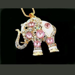 Jewelry - Gorgeous Pink Elephant Sweater Necklace